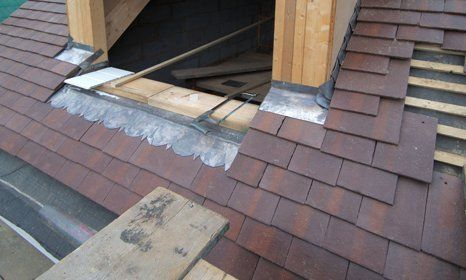 partially installed roofing
