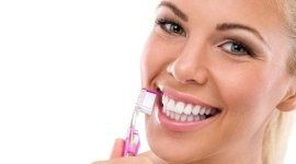 spazzolino, ragazza, sorriso
