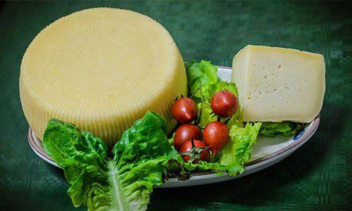un piatto con una forma di formaggio, un altro tagliato con insalata e pomodorini