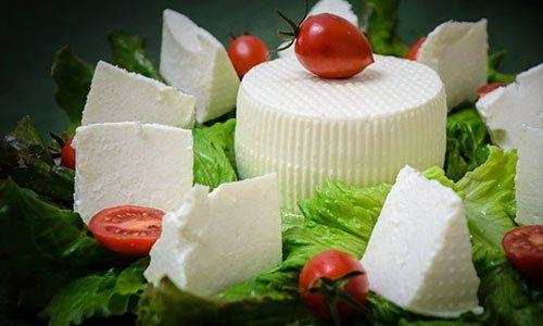 una forma di un formaggio molle al centro con altro tagliato a cubetti in un piatto dove ci sono anche insalata e pomodori