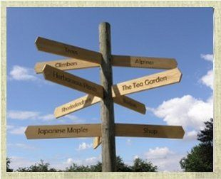 Signposts showing different areas of Goscote Nurseries