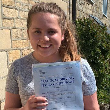 girl with her motorway lessons certificate