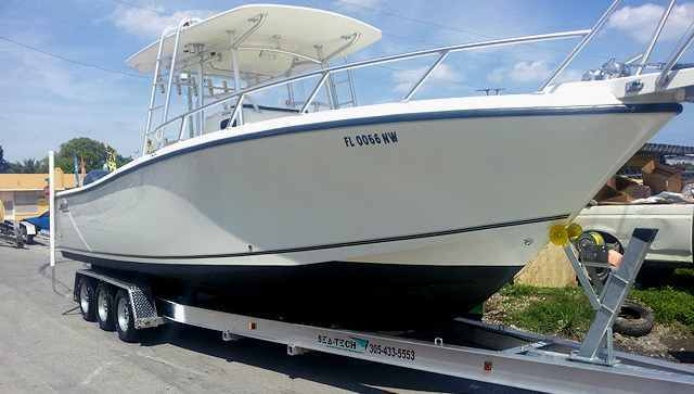 """SEA-TECH Aluminum Boat Trailer for a 30 - 32' boat up to 10,000 lbs includes 3 sets of Kodiak disc brakes and 7-1/2"""" I-beams."""