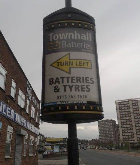 Town Hall Batteries signboard