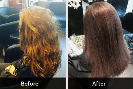 Naturally curly hair, before and after straightening