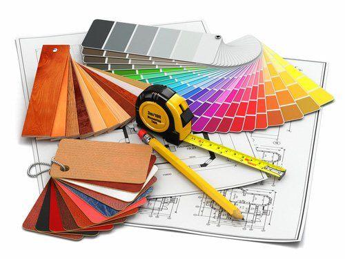 pannello colori con matita metro e disegni tecnici