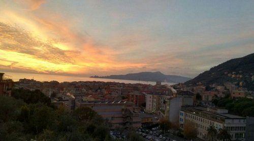 vista del panorama durante il tramonto