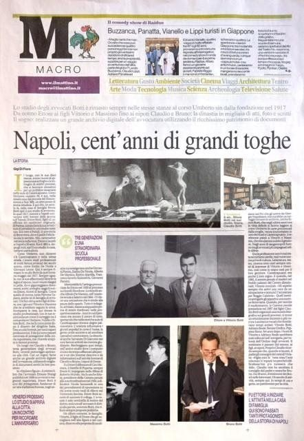Il Mattino di Napoli, Napoli cent'anni di grandi toghe