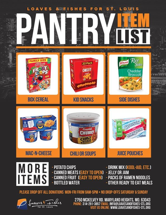 Pantry Item List for Loaves & Fishes for St. Louis