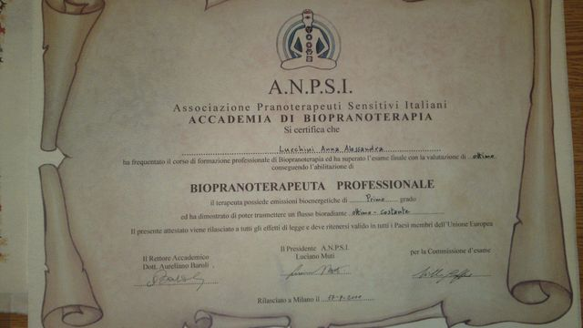 Certificato di biopranoterapia della signora Anna, ad Arco