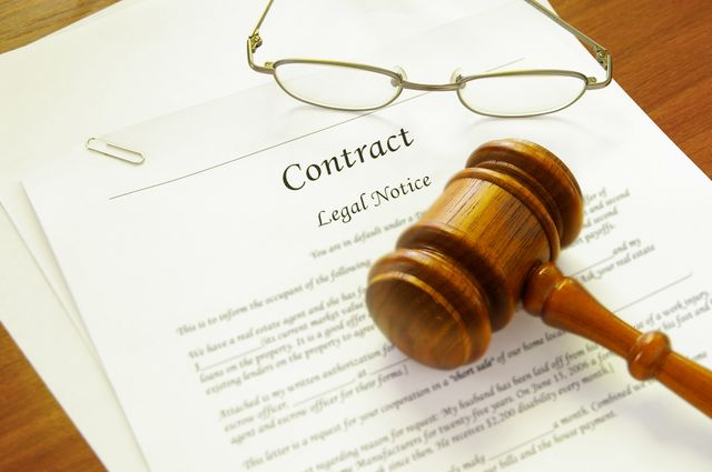 Gavel laying on contract