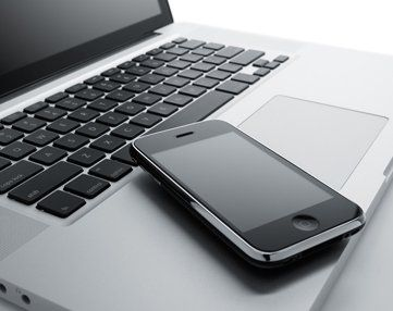 Mobile on a laptop