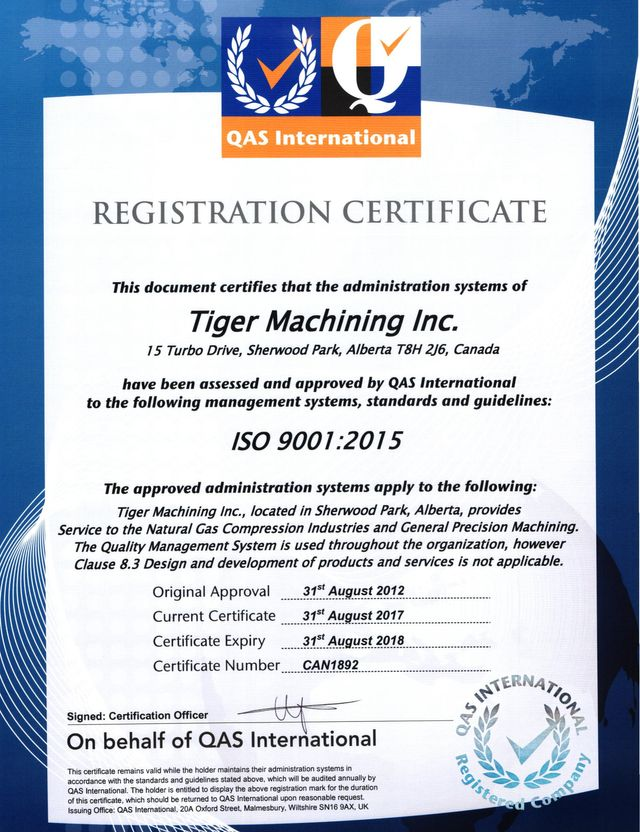 Safety And Certifications Tiger Machining Complete Machine Shop