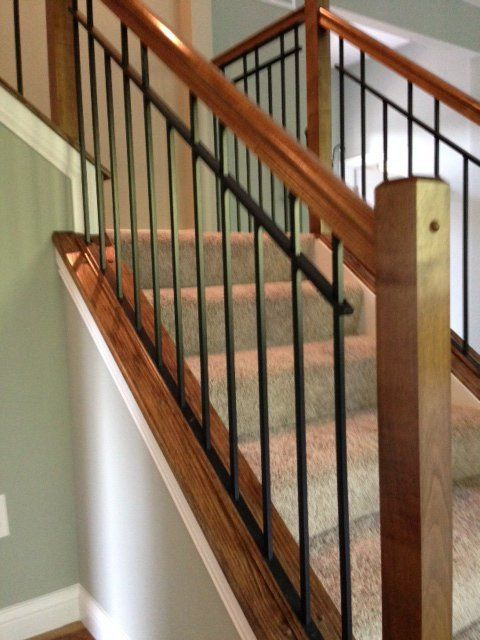 Gentil Wooden Stair Case Railing Installed In Cleves, OH