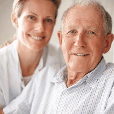 Aldersgate Village Skilled Nursing Nurse with elderly man