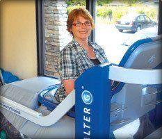 Aldersgate Village woman on treadmill in recovery center