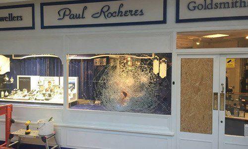 A smashed shop window