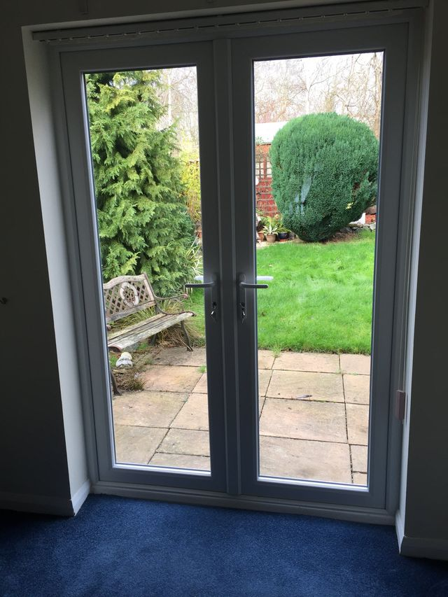 A double glazed patio door