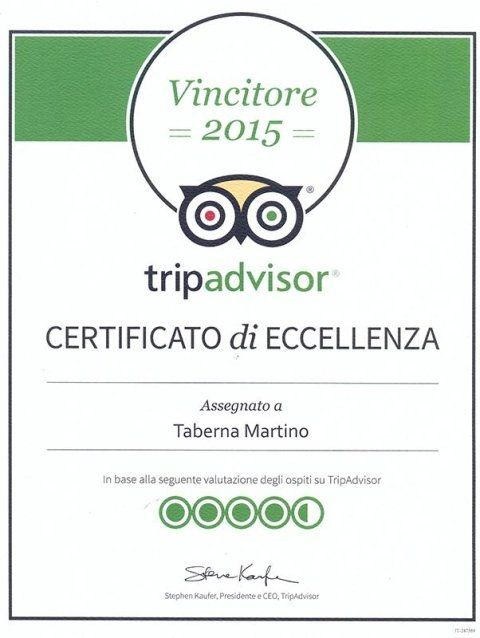 certificato di eccellenza di tripadvisor