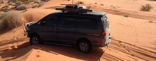 Serviced Mitsubishi car running in a desert in North Shore