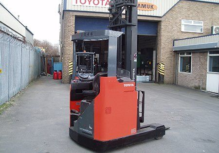 red forklift parked