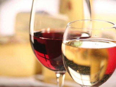 un bicchiere di vino rosso e uno di bianco