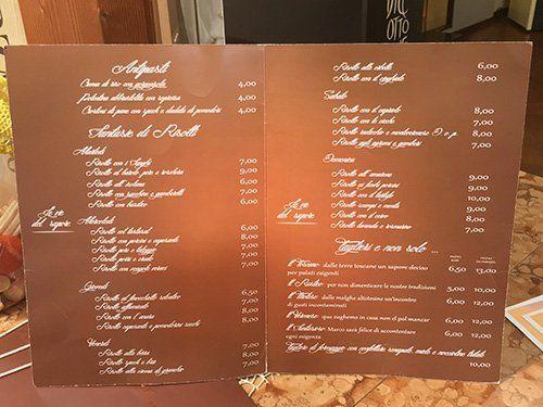 Il menù della risotteria Le Vie Del Sapore ad Oppeano