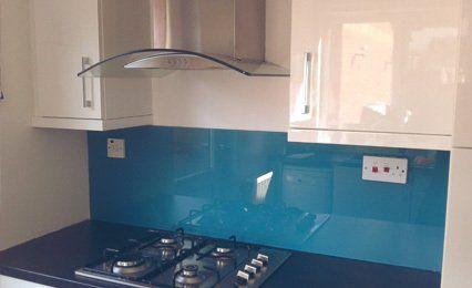 blue hob splashback