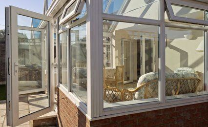 double glazed conservatory doors open