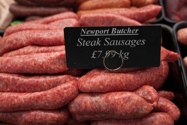 Steak sausages at Newport butcher