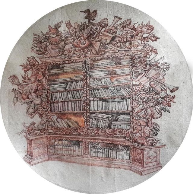 painting of a book shelve