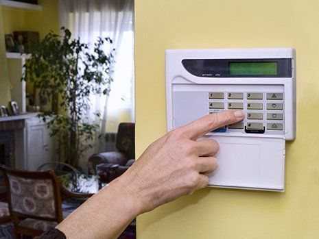 A home security alarm being activated