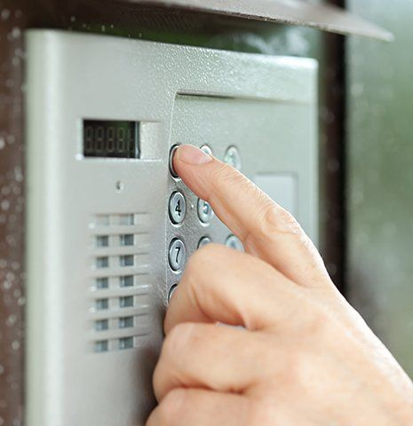 A keypad entry security system