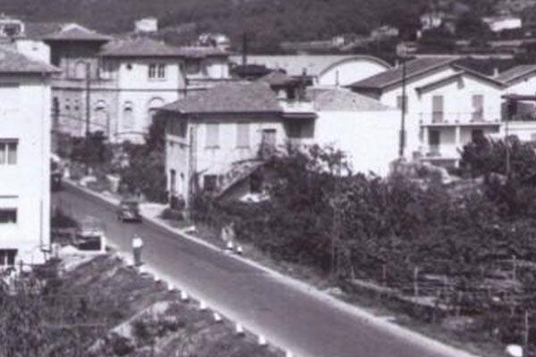 Foto storica in bianco e nero delle strade di Taggoa