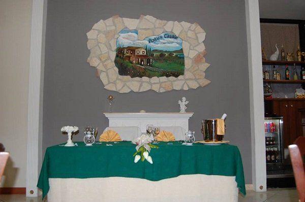 un tavolo con una tovaglia verde e una cornice di pietra con un dipinto