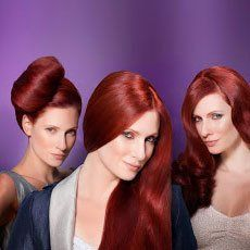 three pictures of a red haired woman with dirrent hair styles