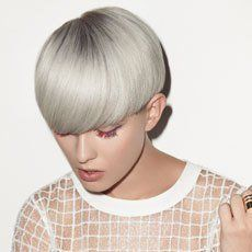 female model with short silver hair