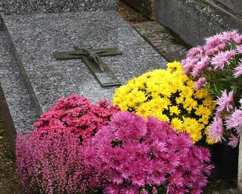 uno lapide e accanto dei fiori