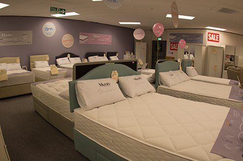 High quality beds with mattress at the Clements showroom