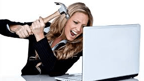 Women with a hammer and a laptop