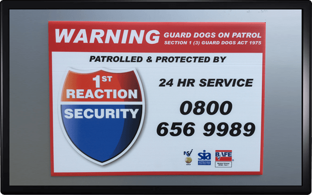 1st Reaction Security Limited sign and alarm