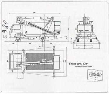 un disegno tecnico di un carrello elevatore su un camion