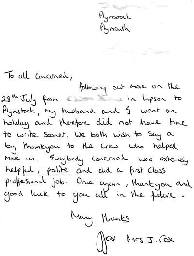 Personal letter of gratitude