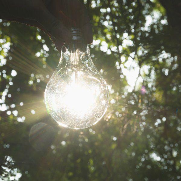 una lampadina contro luce