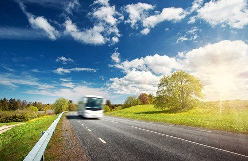 un pullman bianco visto dal dietro mentre sta percorrendo una strada di campagna
