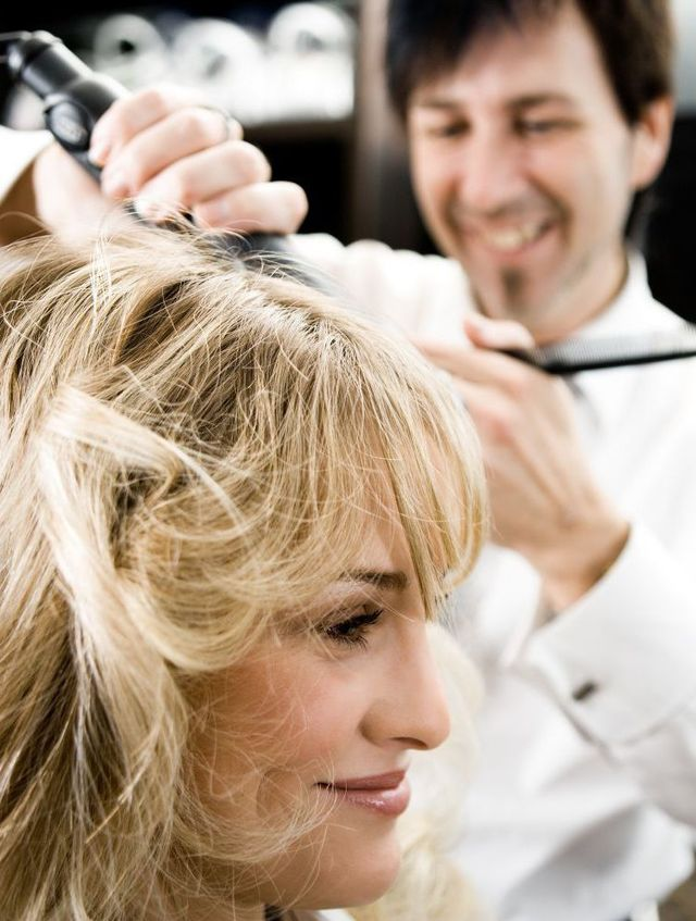 Styling hair at the hair salon in Christchurch