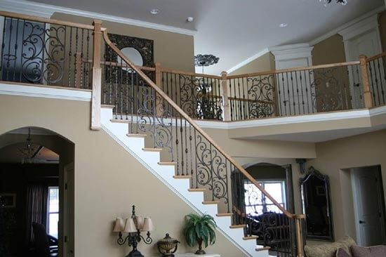 Beau Stairs With Iron Fence Design   Floors Inc Stairs