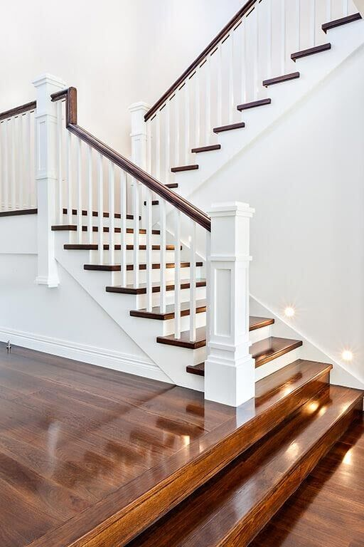 Painted Square Balusters And Newel Post   Staircase   Floors Inc Stairs