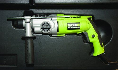 A lime green and chrome drill