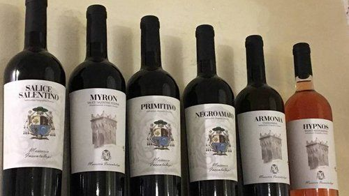 bottiglie di vini del sud Italia